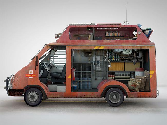 Camion de postier anglais anti-zombies