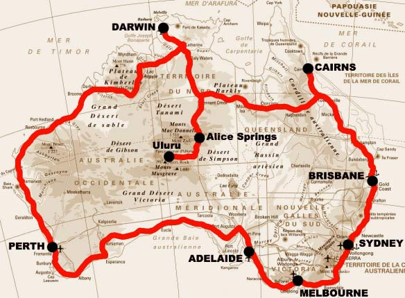 The route of the Australian road trip by Thomas