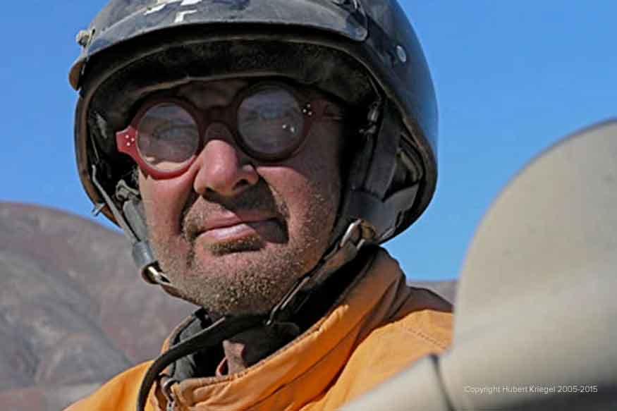 Hubert lors de son road-trip moto à travers le monde