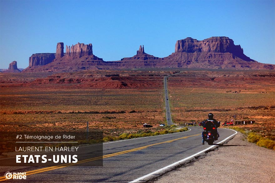 Laurent Pernelle in RoadTrip Harley motorcycle in the United States