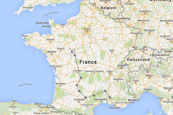 Motorcycle trip in Europe, itinerary in France Planet Ride