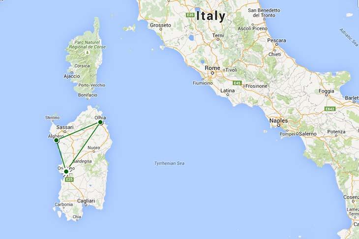 Voyage à moto en europe, itinéraire au Sardaigne Planet Ride