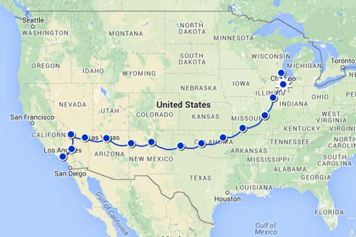 Travel to the United States on the road 66 Planet Ride Circuit