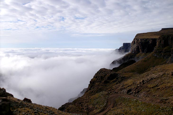 4x4 Travel in South Africa, Sani Pass clouds with Planet Ride