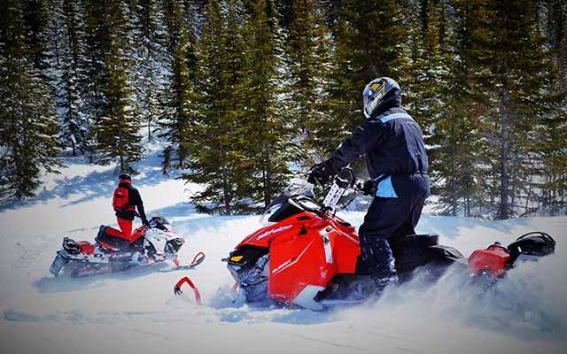 Des professionnels au guidon de leur scooter des neiges