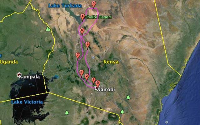 Votre itinéraire lors de votre voyage a moto enduro avec fred au Kenya Planet Ride