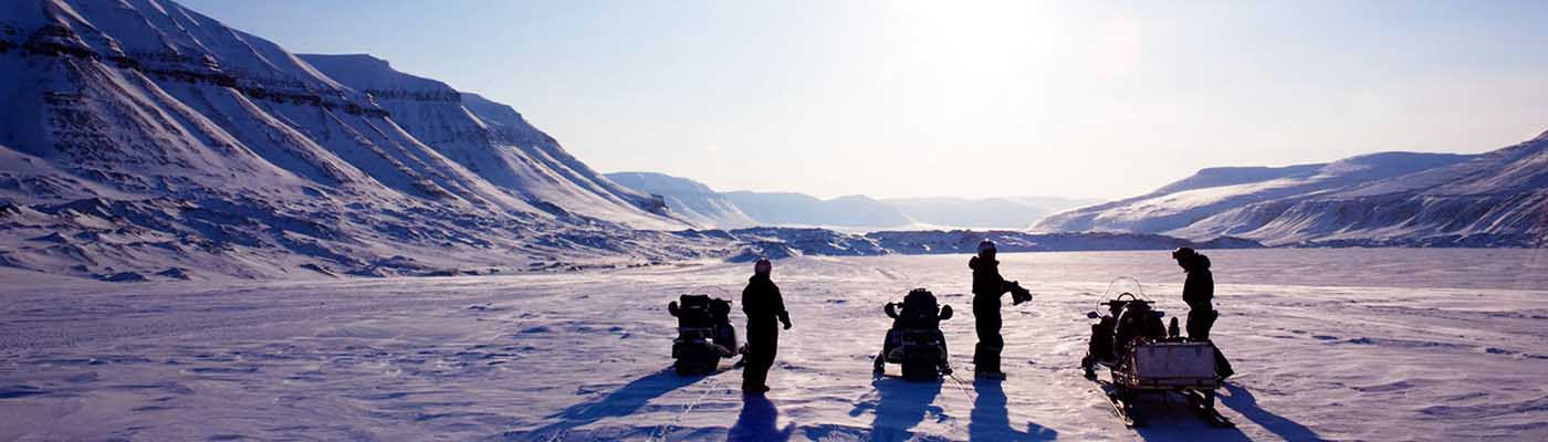 Travel with snowmobile
