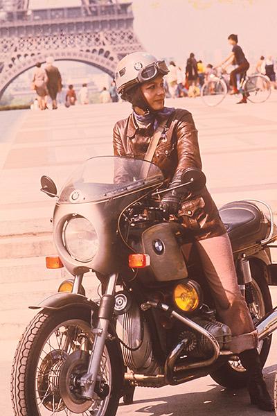 Woman in motorcycle Eiffel Tower