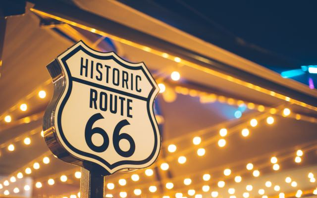 Johnny Hallyday sur la route 66